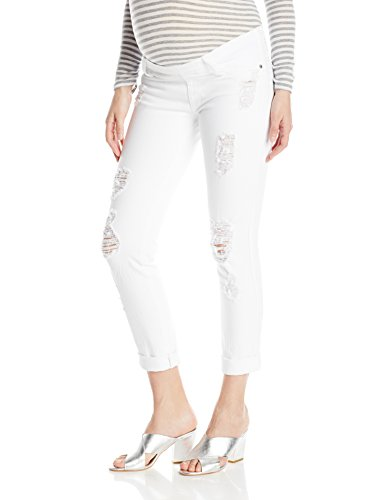 James Jeans Women's Maternity Neo Beau Under-Belly Boyfriend, Destroyed White, 28 - Underbelly Maternity Jeans
