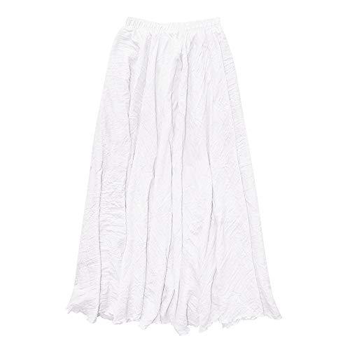 iLUGU Noble Maxi Dress for Women Bohemian Style Elastic Waist Band Cotton Linen Long Skirt White]()