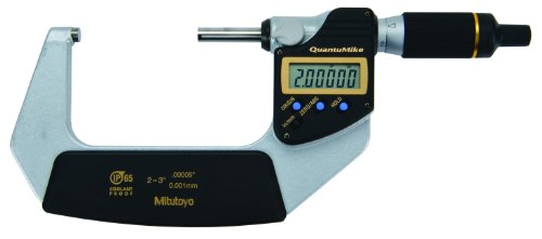 Mitutoyo 293-187 QuantuMike Coolant Proof LCD Micrometer, IP65, Ratchet Thimble, 2-3