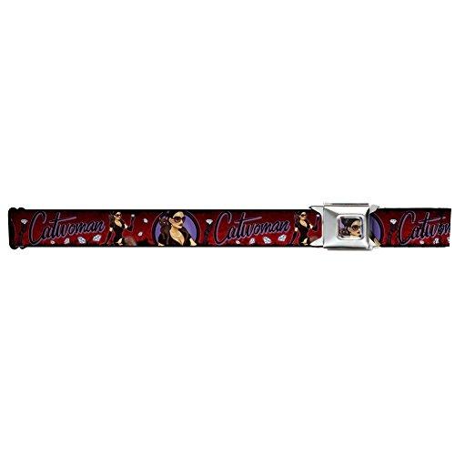 Buckle-Down Seatbelt Belt - CATWOMAN Bombshell Pose/Diamonds Red/Purple/Black - 1.5