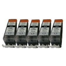 5x Canon Cartuchos de tinta para Impresora Compatible PGI-520BK - Sólo disponible en Negro - Con chip & indicador de nivel para Canon Pixma IP y Serie ...