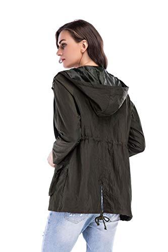 XL ZFFde exterior cordón con bolsillo Green cremallera de con manga Invierno rompevientos escudo Chaqueta larga Color capucha tamaño vSrASW4Tq