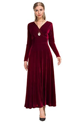 Le Vonfort Formal Velvet Dress for Women, Ladies