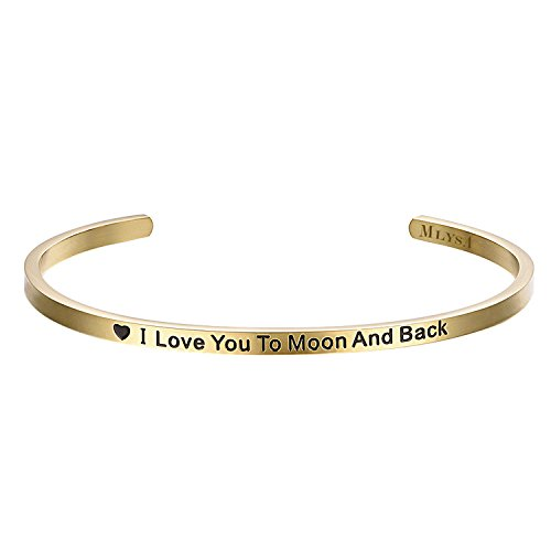 MLYSA 'I Love You to Moon and Back' Cuff Bangle Gifts for Her, Sweetheart, Wife, Mom & Daughter