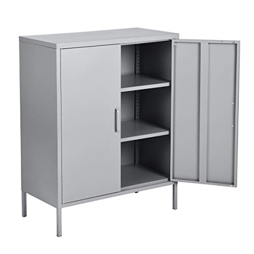 - HouseinBox Double Door Locker Modern Style Metal Cabinet with 3 Shelves for Living Room, Bedroom and Office Grey