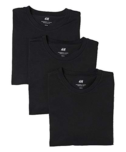 H&M Regular Fit Crewneck T-Shirt 3-Pack (Medium) Black from H&M