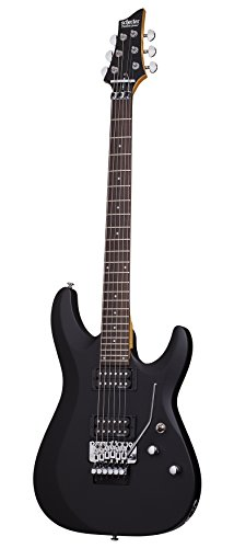 Guitar Series Diamond - Schecter C-6 FR DELUXE Satin Black Solid-Body Electric Guitar, Satin Black