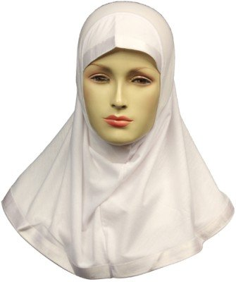 Price comparison product image One Piece Hijab Scarf, White with satin ribbon lining - Regular Adult size