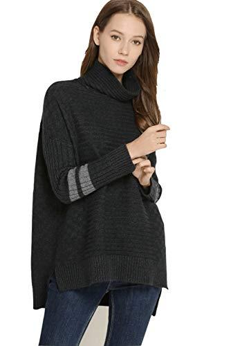 RanRui Women's Oversized Tunic Sweater Dress for Pants Cashmere Sweater Chunky Knit (8022 Dark Grey, Dark Grey)