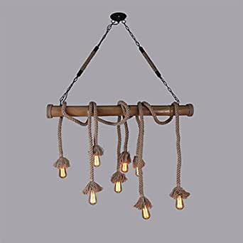 8 Cabezas De 100Cm Vintage Cuerda De Cáñamo Con Bambú Luces Colgantes Lámpara Industrial Creativo Loft Salón Restaurante Tienda De Ropa De Barras De Luz Decorativa