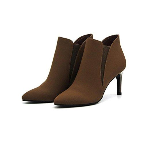 c84b8aecaa8 Outlet XIE Tacones altos de mujer Tacón alto Calzado Botas acentuadas Tacón  fino Botas sin cordones