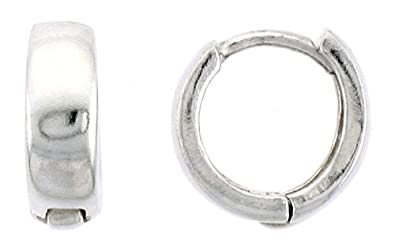 Elements Silver Plain Huggie Sterling Silver Earrings MHFQlrfp