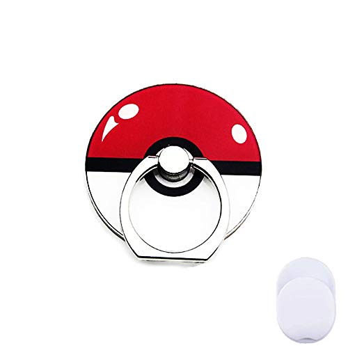 ZOEAST(TM) Phone Ring Grip Pocket Monster Ball Pokeball Universal 360° Adjustable Holder Car Hook Stand Stent Mount Kickstand Compatible with iPhones Samsung Galaxy Android Pad (Ball Red)