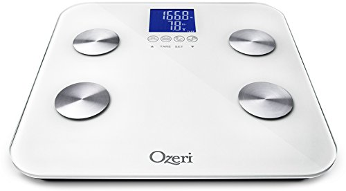 Ozeri Touch 440 lbs Total Body Bath Scale – Measures Weight, Fat, Muscle, Bone & Hydration with Auto Recognition and Infant Tare Technology