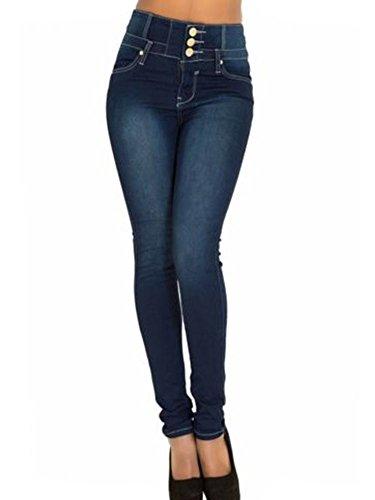 Donne A Skinny Marino Vita Jeans Pantaloni Denim Alta Stretti Blu Casual Sciolto qwqr7ZgT6n