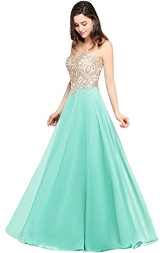 MisShow Floor Length Boat Neck Long Crystal Ball Gown Prom Dresses 14 US Mint