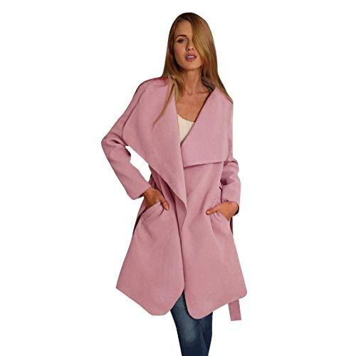 Jeune Avec Survêtement Mode Long Trench Coat Parka Femme Color De En Automne Slim Sangle Rose Fit Irrégulière Poches Manche Printemps Laine Pure Manteau Mode faxBUqAw