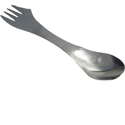 Iulove_kitchen&dining&bar 1 Pc 3 in 1 Titanium Fork Spoon Spork Cutlery Utensil Combo Kitchen Outdoor Picn
