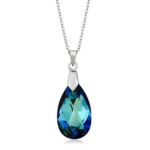 Gem Stone King Nirano Collection Bermuda Blue Pendant 18inchesChain Made with Swarovski - Blue Necklace Pendant Crystal