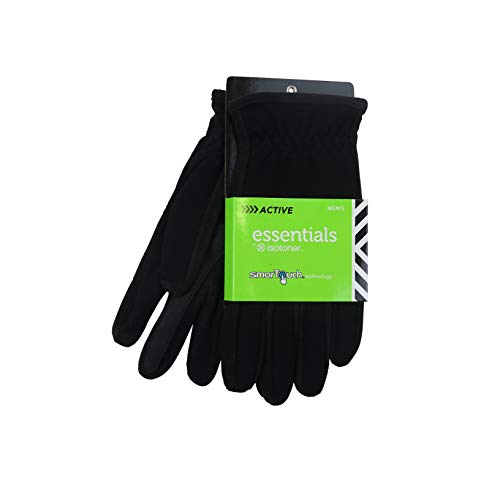 ISOTONER MENS UNLINED FLEECE SMARTOUCH ACTIVE GLOVES (XL, Black)