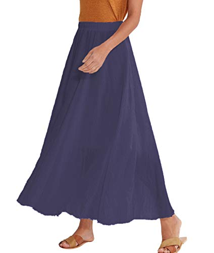 - Amazhiyu Women Swing Skirt 33.4inch Mid Length Cotton Linen Elastic Waist Boho Style for Autumn Summer (33.4inches, Navy Blue)