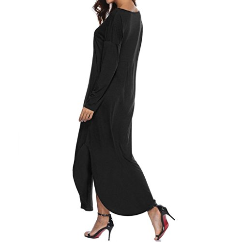 Larga Suelto Irregular Sexy Vestido Z Mujer Elegante ❤️ Playa Falda Vestido Fiesta de Negro Verano Bolsillo Manga Maxi de Casual LuckyGirls Noche Manga Corta PqagnwxRRE