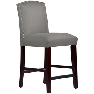 (Skyline Furniture Nail Button Arched Counter Stool in Grey Linen)