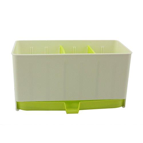 Multifunctional Plastic Caddy Drain Rack Storage Box Shelf Drying Holder Flatware Silverware Utensils Cutlery Tray Home Kitchen Bathroom Table Organizer Free Combination (Green)