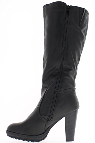 Black women boots with thick heels of 10cm and thick soles nvLJ29ESu