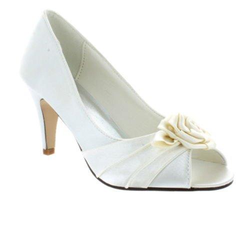 Føtter Sko Damene Toe Elegante Brude Bryllup Baner Sateng Elfenben Kvinners Peep gvE7xEdq