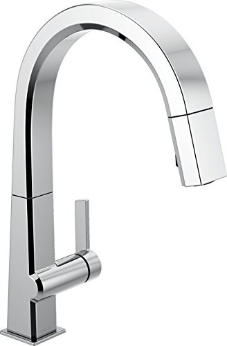 Pn Single Handle - Delta Faucet Pivotal Single-Handle Kitchen Sink Faucet with Pull Down Sprayer and Magnetic Docking Spray Head, Chrome 9193-DST