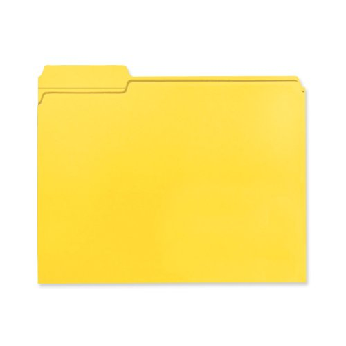 Smead 100% Recycled File Folder, Reinforced 1/3-Cut Tab, Letter Size, Yellow, 100 per Box (12938 ) by Smead