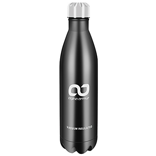 Alpha Armur 25 Oz (750ml) Insulated Water Bottle Steel Water Bottle Double Wall Vacuum Insulated Stainless Steel Water Bottle Flask Collapsible Water Bottle with Narrow Mouth, Black