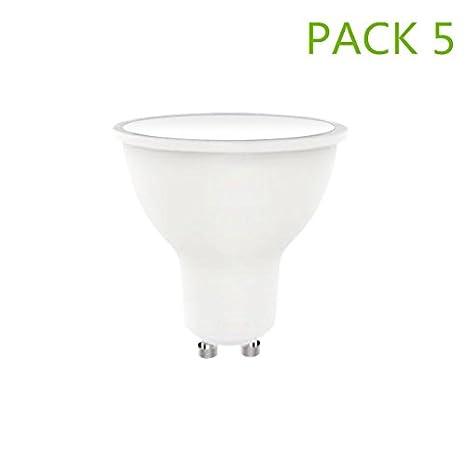 Bombilla LED GU10 6W (Pack 5) Blanco Neutro 4000k-4500k 500lm ángulo 120°: Amazon.es: Iluminación