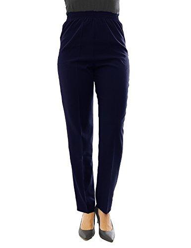 Collants Pantalon femmes coton ceinture extensible Business Classic - bleu foncé, Körpergröße164cm-36/M