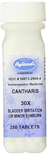 (Hyland's Cantharis 30X Tablets, Natural Homeopathic Relief of Bladder Irritation or Minor Sunburn, 250 Count)