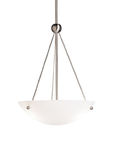 2752NI Family Space 3LT Pendant, Brushed Nickel Finish with Satin Etched White Glass (Etched White Design Gold)