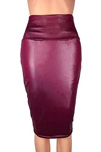 Faux Sopliagon Midi Winered1 Haute Ol Femmes Taille Jupes Jupe Moulante En Cuir OPkZXiu
