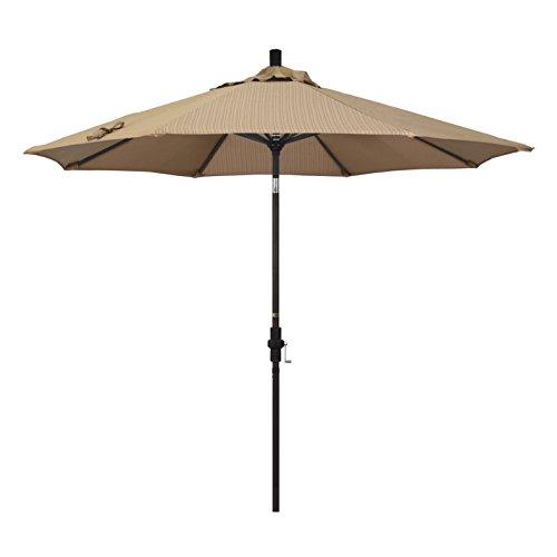 California Umbrella 9' Round Aluminum Market Umbrella, Crank Lift, Collar Tilt, Bronze Pole, Terrace Sequoia Olefin