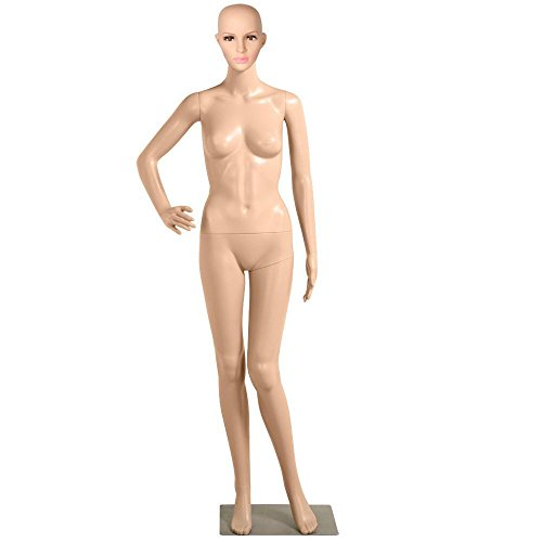 Yaheetech Plastic Female Mannequin Adjustable Realistic Display Full Body Dress Form 68.9in Height w/Base