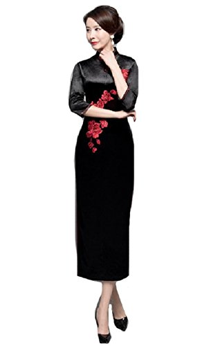 Dress Coolred Traditional Women Black Retro Embroidered Premium Cheongsam prpwqIY