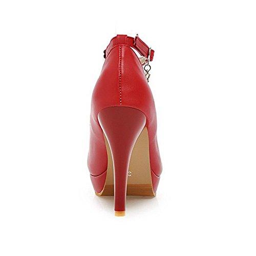 AllhqFashion Mujeres Tacón de aguja Puntera Redonda Cerrada Sólido De salón con Metal Rojo