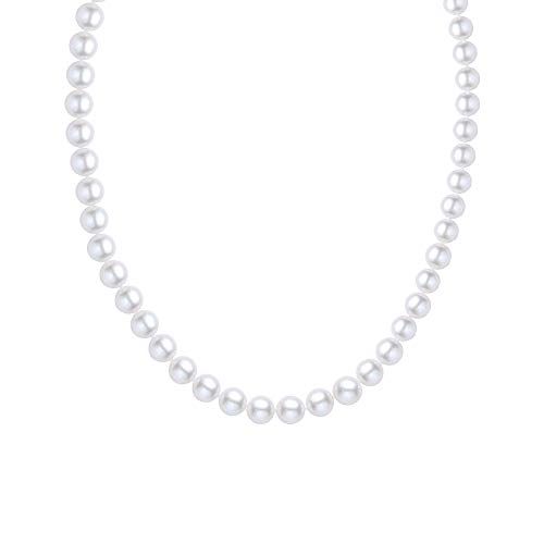 - 925 Sterling Silver 9.5-10.5mm White Round Freshwater Cultured Pearl Necklace, 18 Inch