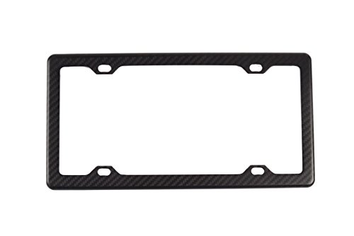 (BLVD-LPF OBEY YOUR LUXURY  100% Real Matte Black Carbon Fiber License Plate Frame Slim 4 Holes with Matching Screw Caps - 1 Frame)