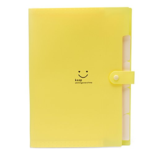 A4 Paper Letter Size 5 Pockets Plastic Expanding File Folder Accordion Document Organizer with Snap Closure Yellow