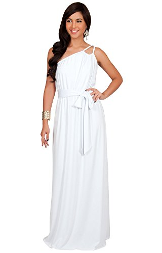 KOH KOH Plus Size Womens Long Sleeveless One Shoulder Cocktail Evening Formal Bridesmaid Bridal Wedding Party Summer Sexy Cute Maternity Gown Gowns Maxi Dress Dresses, White XL (Plus Size Fancy Dress Outfits)