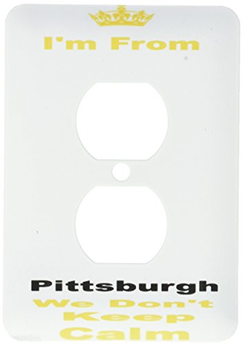 3dRose lsp_180044_6 dont keep calm, Pittsburgh, yellow and black letters on white background - 2 Plug Outlet Cover