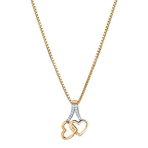 14K Yellow Gold Diamond Accent Interlocking Hearts Pendant ()