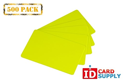 Pack of 500 Yellow CR80 Standard Size PVC Cards | 30 mil Thickness by easyIDea