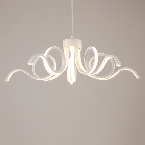 Baycher Acrylic Pendant Light, Modern LED Pendant Lamp Natural White With 5 Stripes - Bronze White Pendant Stripes